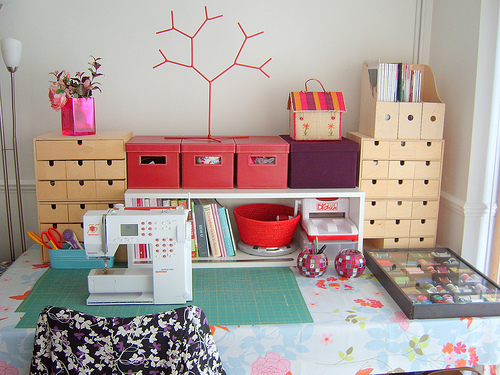 Organizing your sewing space small spaces whipstitch for Small craft table with storage