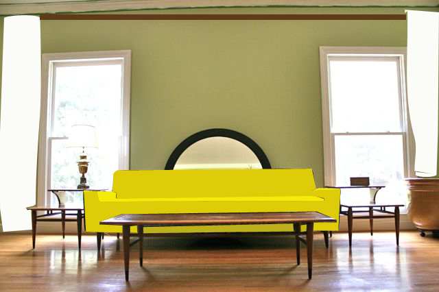 yellow sofa one curtain