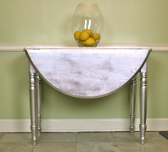 Metallic Painted Drop-Leaf Table  Whipstitch