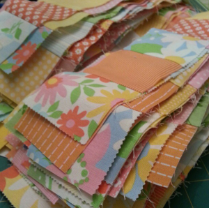 postage stamp quilt strips