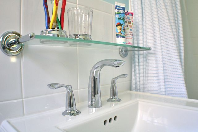 Glass Shelf Above Toilet : Jack and Jill Bathroom Renovation Whipstitch
