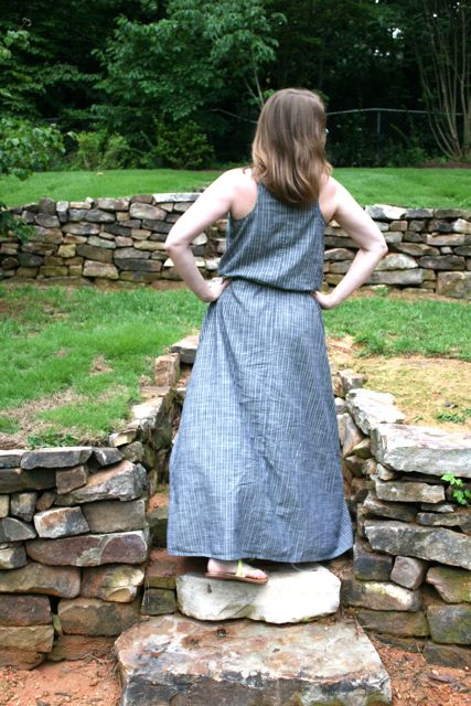 drawstring maxi back | whipstitch