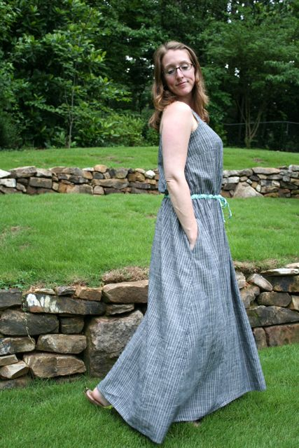 drawstring maxi side | whipstitch