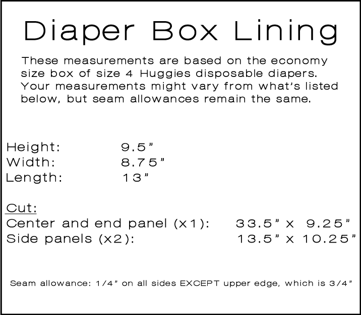 lined diaper box measurements