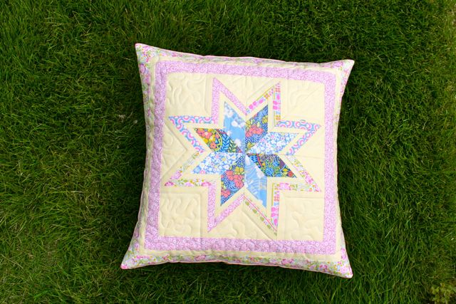 liberty bordered star quilted pillow
