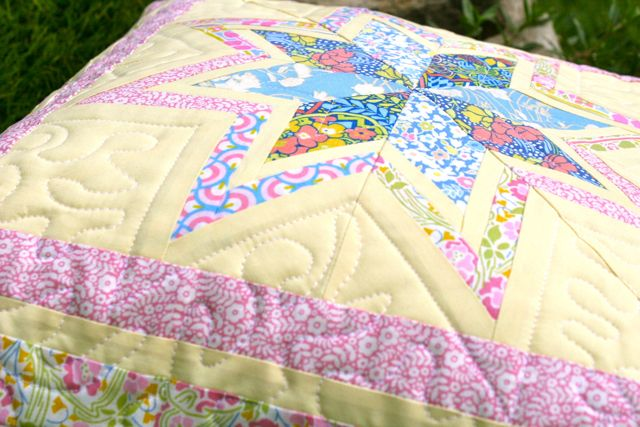 liberty quilting cottons quilted pillow front