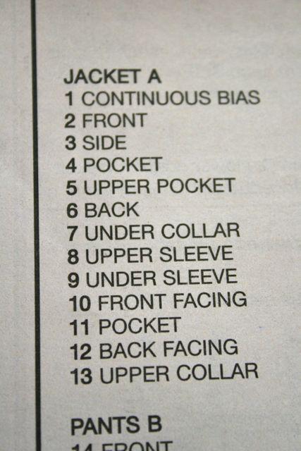 pattern pieces list
