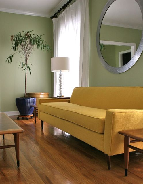 bright yellow mid century sofa