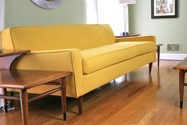 yellow vintage sofa