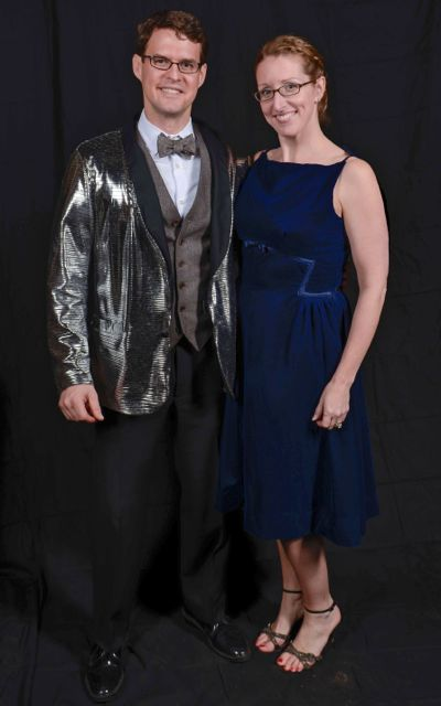 blue velvet dress photo booth prom picture