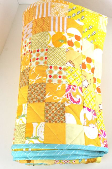 all-yellow scrappy quilt