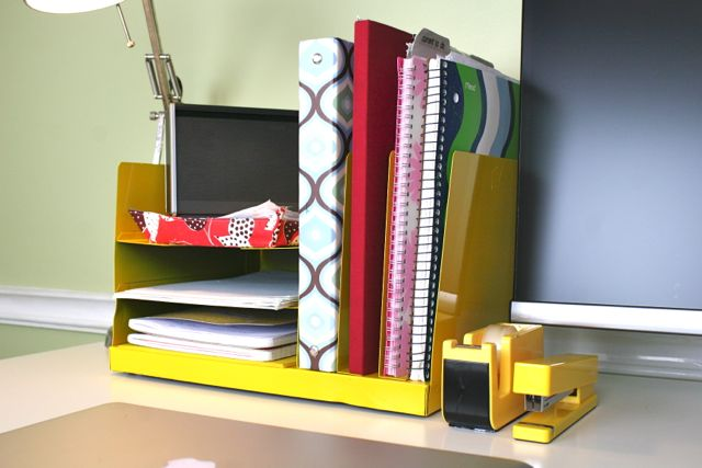 bright yellow office supplies