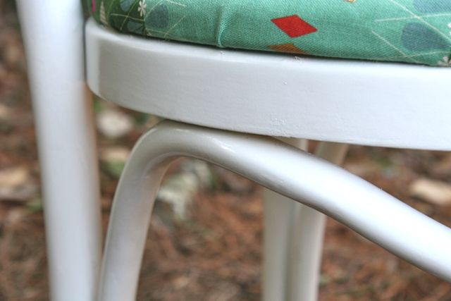gloss white paint to update vintage chair