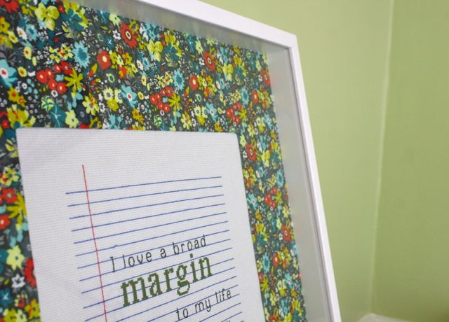 margine cross stitch in shadow box frame | Whipstitch