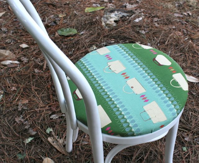 updated dining room chair with new fabric and paint