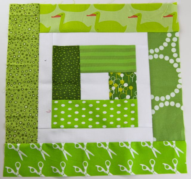 green and white quilt block