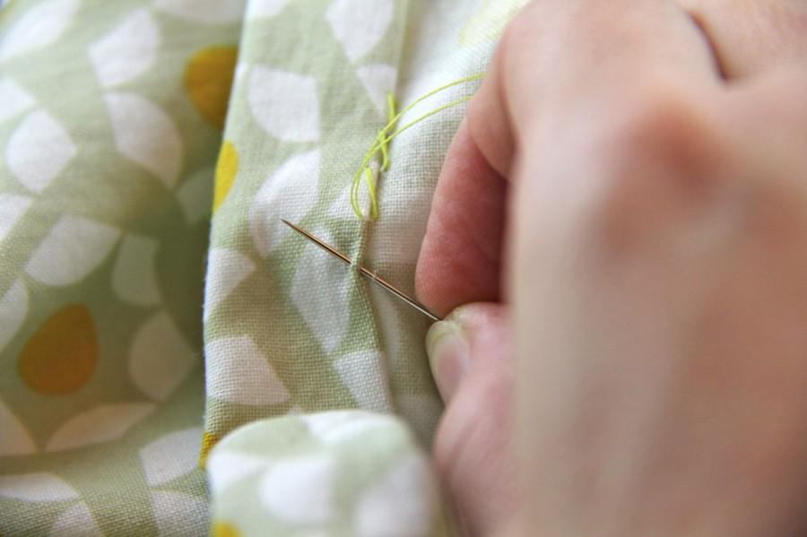 hand sewing a hem