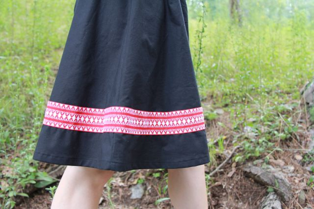 red vintage trim on black Get Up and Go Skirt
