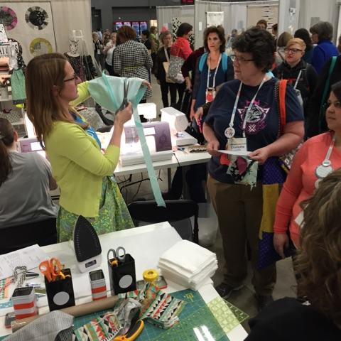 continuous bias tape demonstration at Quilt Con