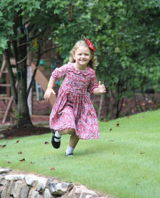 Peter Pan collar and three quarter length sleeves on the Flip Flop Dress by Whipstitch