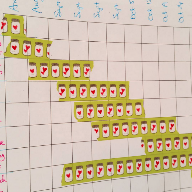 washi tape chart to organize your sewing