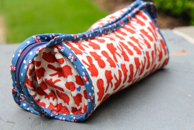 sew together cosmetics bag all zipped up